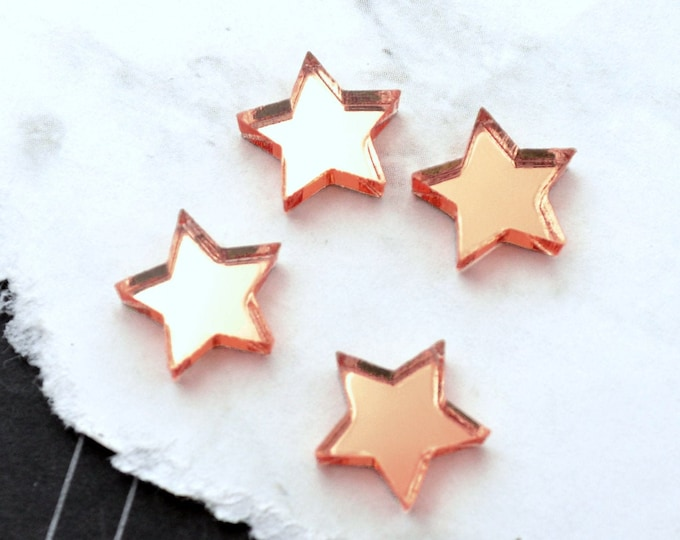 Rose Gold Mirror Stars - Set of 4 Cabochons in Laser Cut Acrylic