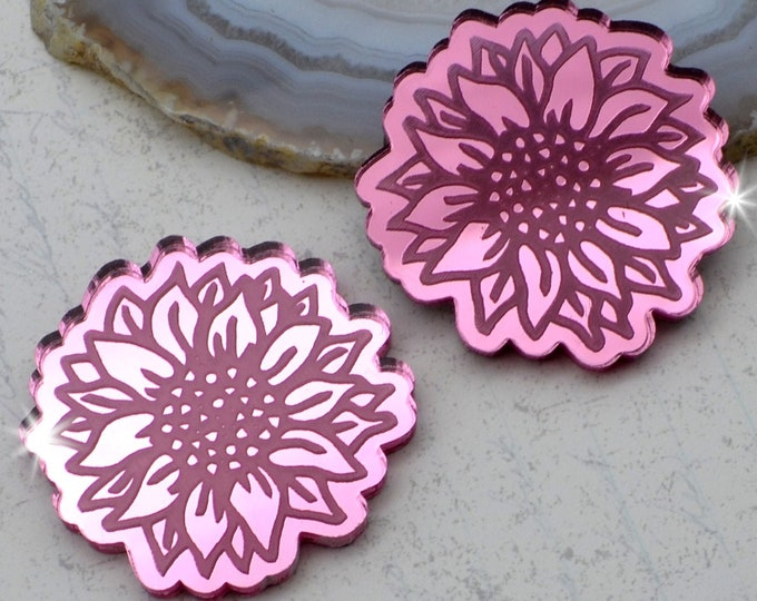 SUNFLOWER CABOCHONS - Pink Mirror Laser Cut Acrylic - Set of 2 Flat Back Cabs