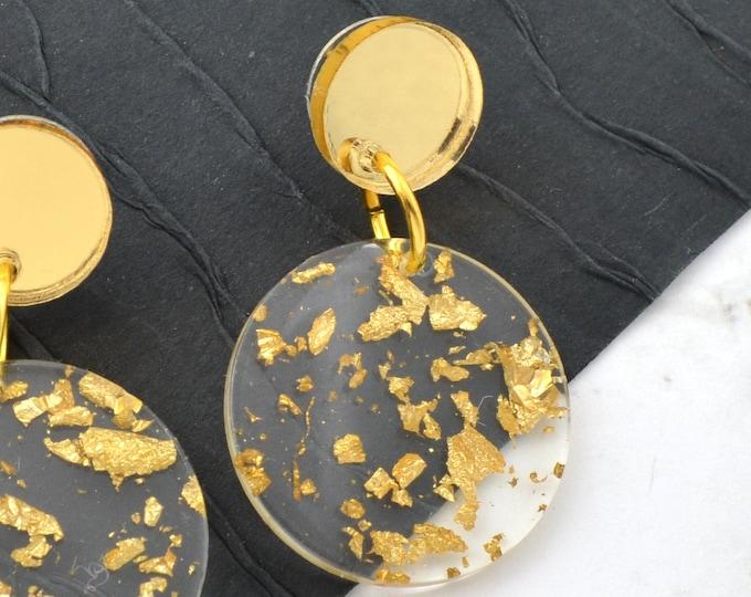 Gold Leaf Drop Dangles - Laser Cut Acrylic Earrings