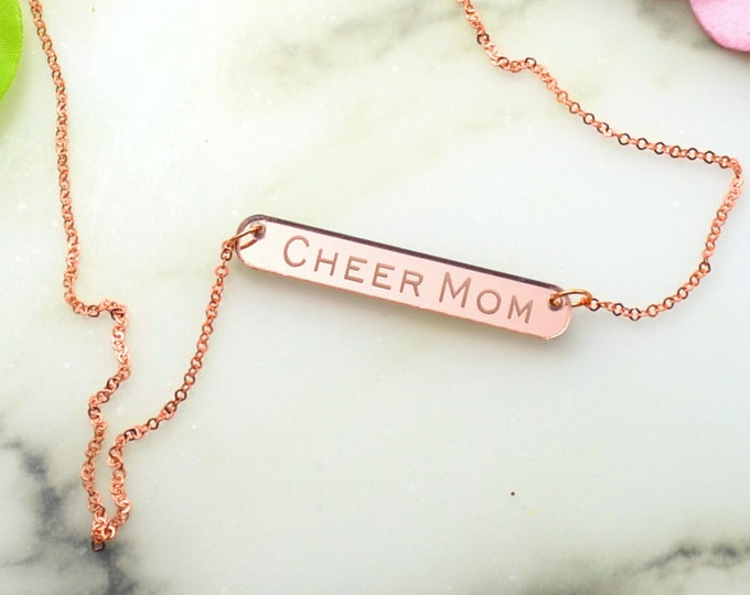 CHEER MOM - Laser Cut Acrylic - Rose Gold Mirrored Necklace