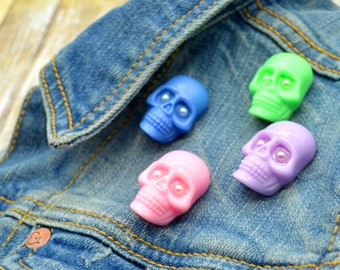 PYO Skull Pin - Pick your color! - One Skull Brooch
