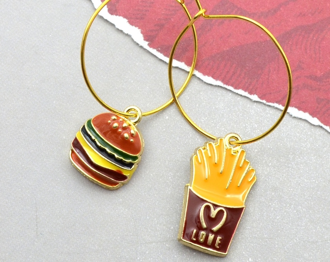 Burger and Fries Hoop Earrings