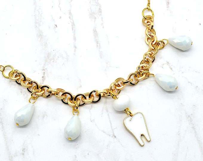 Pearly Whites - Gold Tooth Charm Necklace