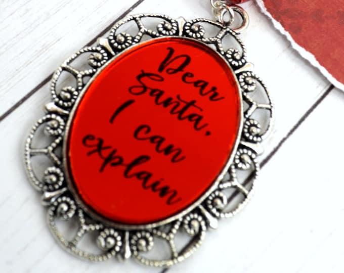 DEAR SANTA - 30 X 40 Red Mirror Cameo Adjustable Necklace