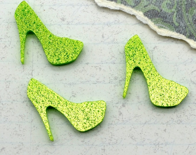 Lime Green Glitter Mini Heel Cabochons - 3 Pieces - Laser Cut Acrylic