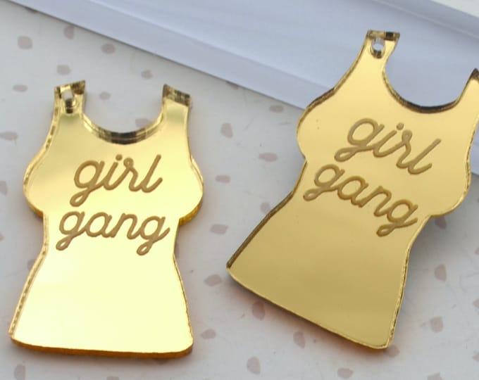 Girl Gang - Gold Mirror Charms - flat back - Laser Cut Acrylic
