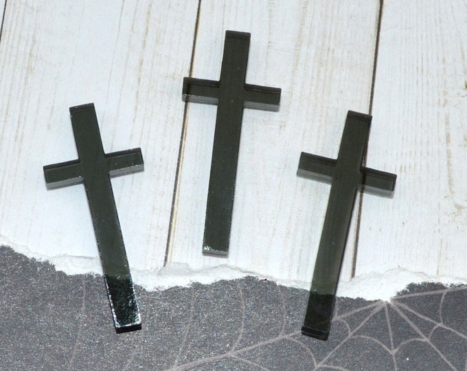 SMOKE CROSS CABOCHONS - 3 Pieces - In Smoke Grey Laser Cut Acrylic