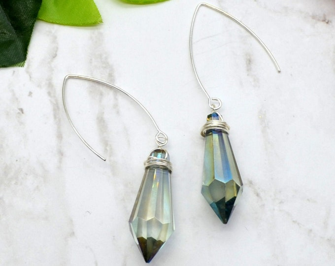 Hand Wired Wrapped Silver Crystals - Couture Earrings