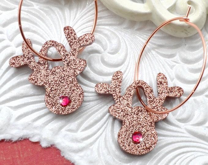 Reindeer Rose Gold Dangles - Holiday Earrings
