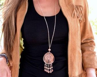 Feminine Lotus Teardrop Necklace