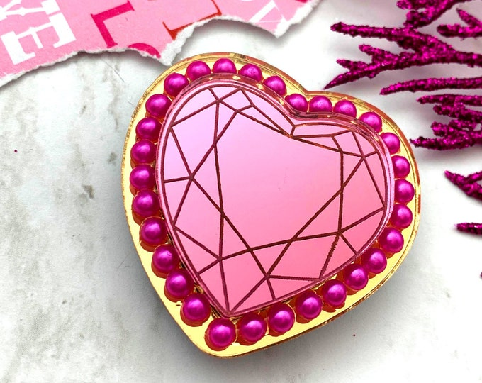 Queen Of Hearts Brooch - Pink & Gold - Laser Cut Acrylic