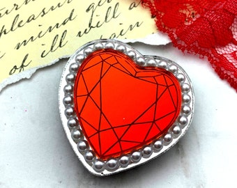 Queen Of Hearts Brooch - Red & Silver - Laser Cut Acrylic