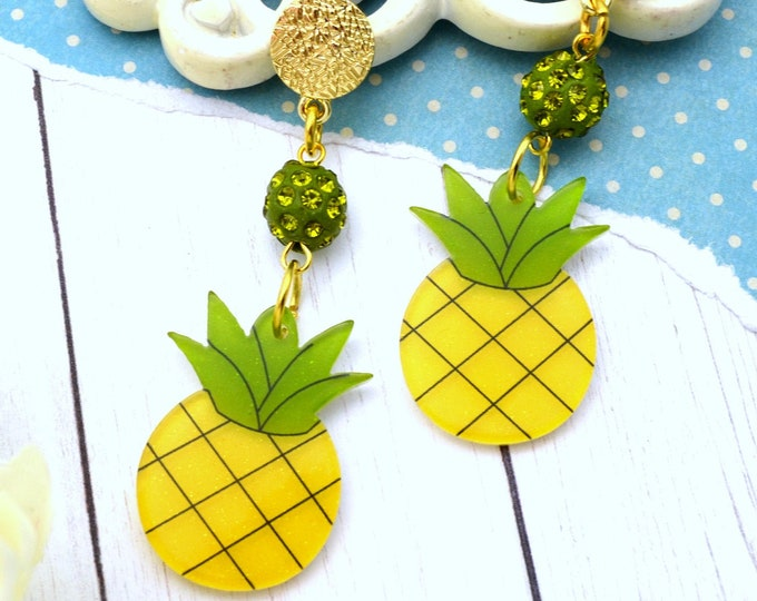 Perfect Pineapple Dangle - Summer Fruit Basket Collection - Stud Dangle Earrings