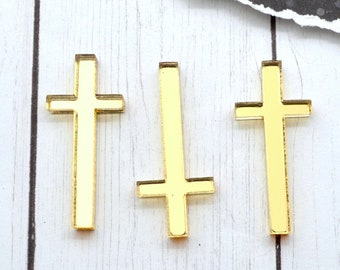 GOLD CROSS CABOCHONS - 3 Pieces - In Gold Mirror Laser Cut Acrylic