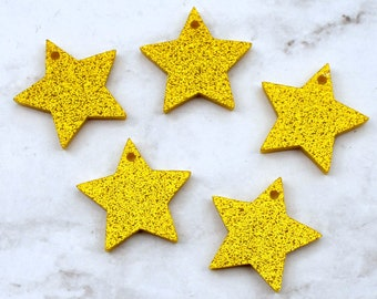 GOLD GLITTER STARS - Set of 5 Charms in Laser Cut Acrylic