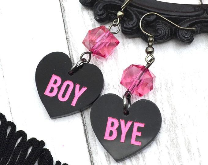 Boy Bye - Black Heart Dangle Earrings