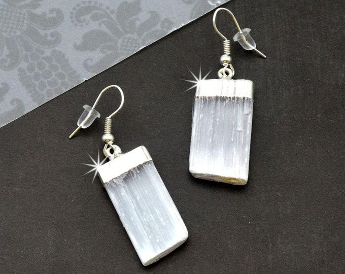 Serene Selenite Dangle Earrings - Silver Earring