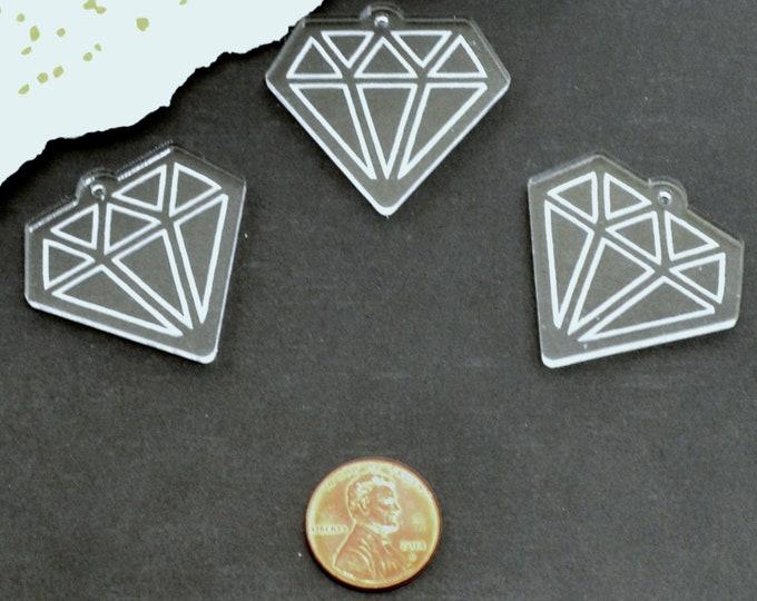 CLEAR DIAMOND CHARMS - Engraved - Flat Back - Laser Cut Acrylic