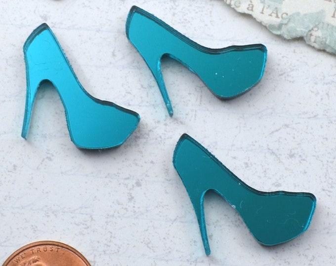 Teal Mirror Mini Heel Cabochons - 3 Pieces - Laser Cut Acrylic