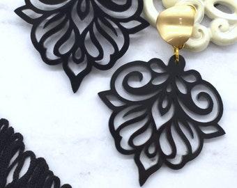FLOURISH DANGLES in Black Laser Cut Acrylic Earrings