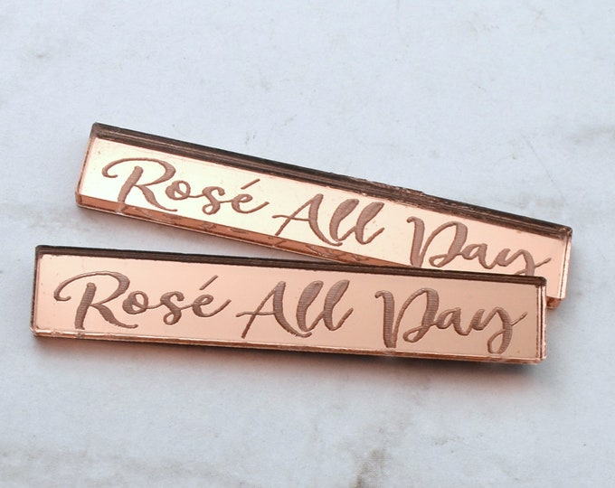 ROSE' ALL DAY - 2 Rose Gold Mirror Cabochons- Laser Cut Acrylic Flatback Cab