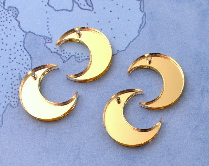 GOLD MOON CHARMS -  4 Pieces - In Laser Cut Acrylic