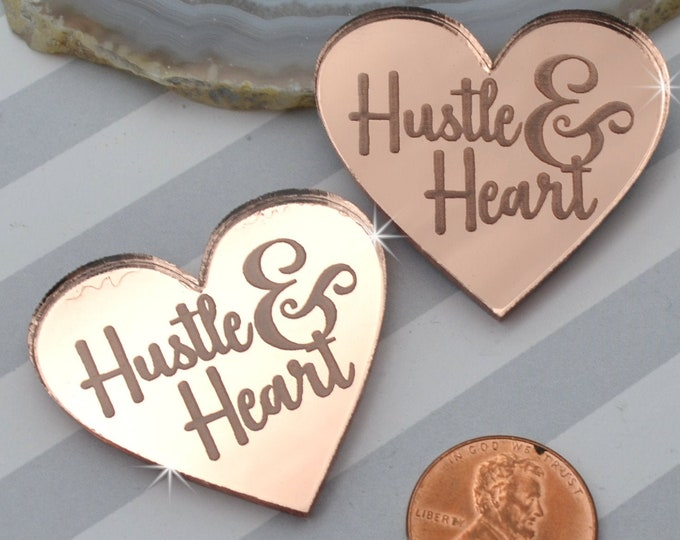 HUSTLE AND HEART - Rose Gold Mirror Laser Cut Acrylic Cabs - Set of 2 Flatback Cabochons