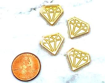 MINI GOLD DIAMONDS -  Mirror Cabochons - flat back - Laser Cut Acrylic