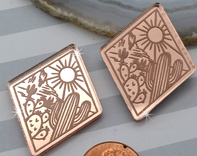 DESERT LOVE - Cactus Sunset Diamond Cabochons - Rose Gold Mirror Laser Cut Acrylic Cabs - Set of 2 Flatbacks