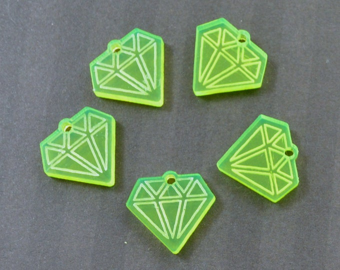 MINI NEON DIAMONDS - Hot Yellow Green Charms - Laser Cut Acrylic