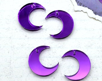 4 - Purple Mirror Moon Charms - In Laser Cut Acrylic