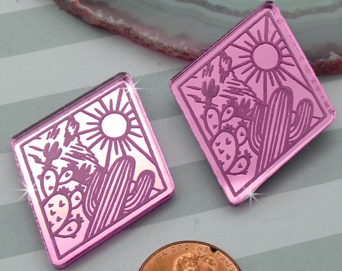 DESERT LOVE - Cactus Sunset Diamond Cabochons - Pink Mirror Laser Cut Acrylic Cabs - Set of 2 Flatbacks