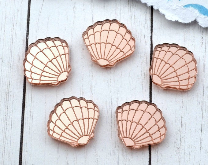 ROSE GOLD MIRROR Cabs - Sea Shells - Laser Cut Acrylic -  Flatback Cabochons