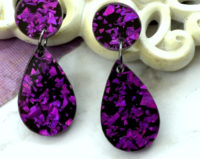 Purple Foil Teardrop Dangles - Laser Cut Acrylic Earrings