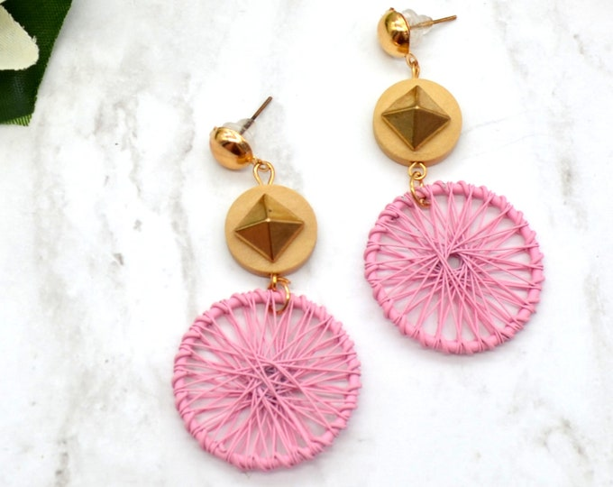 Dream Weaver - Pink and Gold - Golden Toned Dream Catcher with Spikes