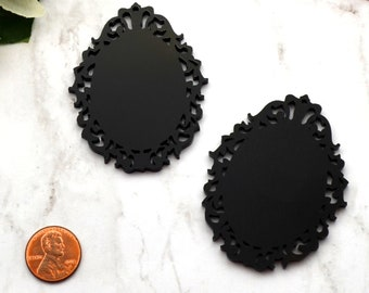 BLACK FILIGREE CAMEOS - 30 x 40 mm Ornate Oval Settings - Laser Cut Acrylic