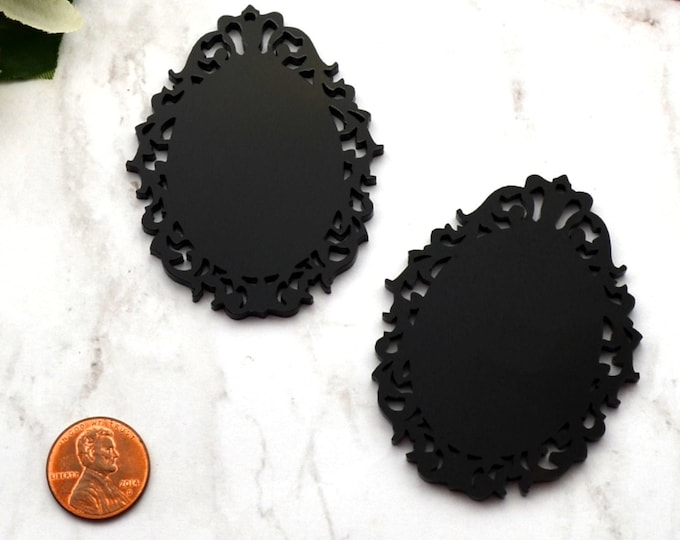BLACK FILIGREE CAMEOS - 30 x 40 mm Ornate Oval Settings - Laser Cut Acrylic