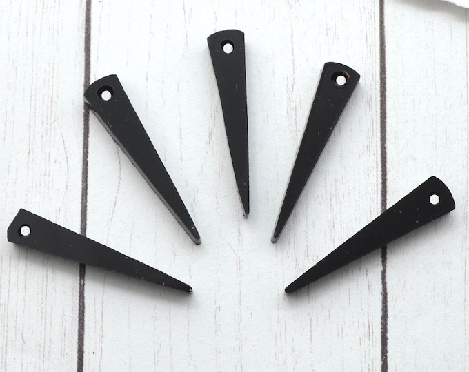 BLACK SPIKES - Small Laser Cut Acrylic Spike Charms - Set of 5
