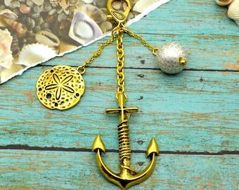 Anchors Away Purse Charm - Couture Nautical Key Chain