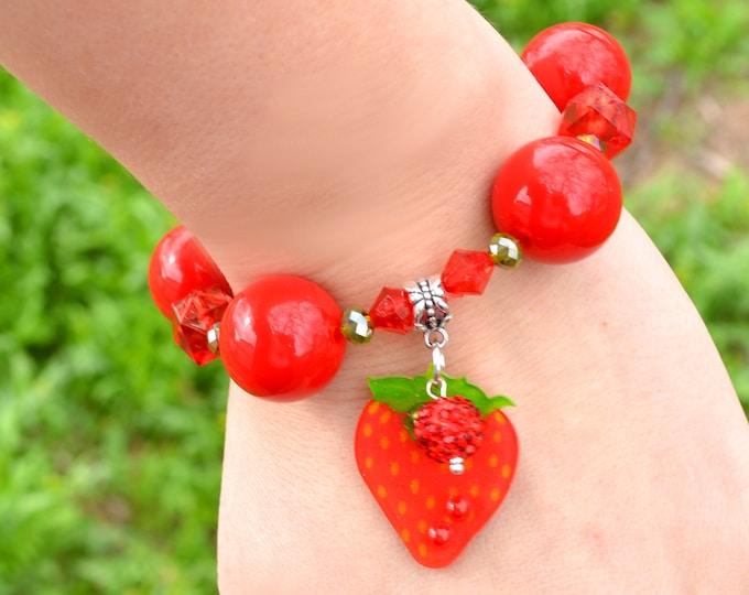 Strawberry Bling - Fruity, Adorable, Delicious Bubblegum Bracelet
