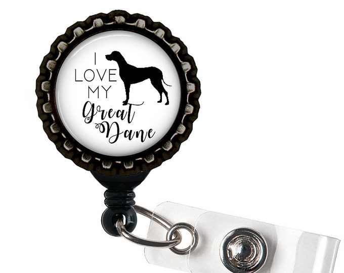 Great Dane Black Resin Retractable Badge Reel ID Holder