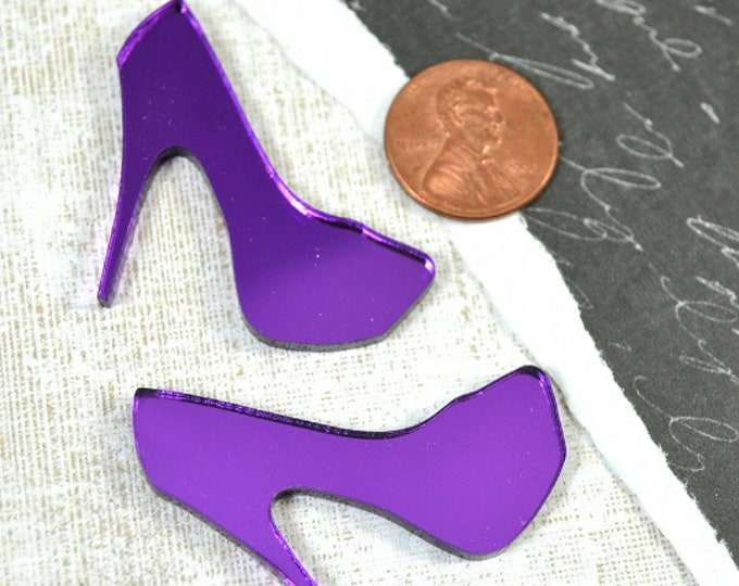 PURPLE MIRROR HEELS - 2 Heel Cabs in Purple Laser Cut Acrylic