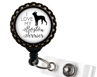 Boston Terrier Black Resin Retractable Badge Reel ID Holder