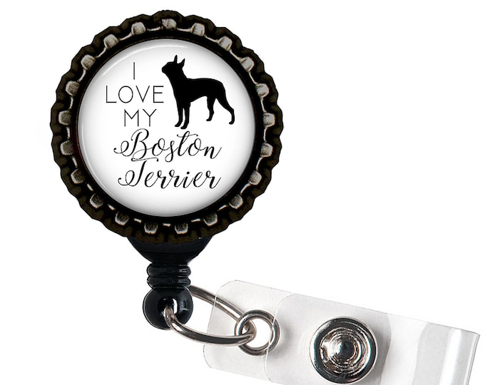 Boston Terrier Black Resin Retractable Badge Reel ID Holder