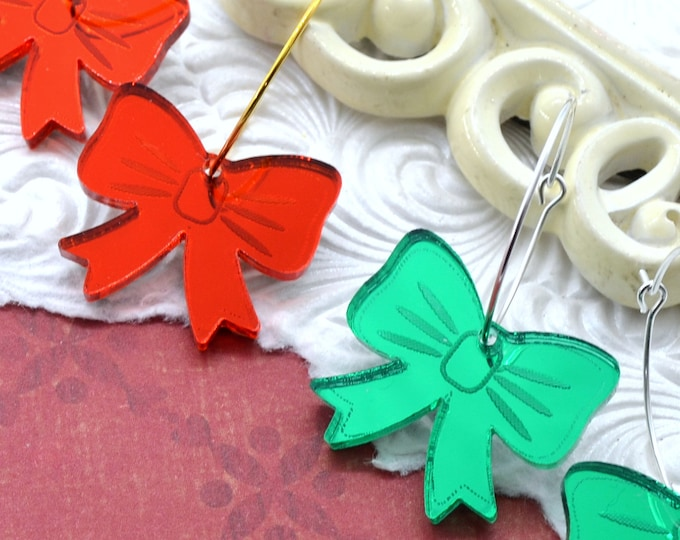 Red and Green Bows - Hoop Earrings - Laser Cut Acrylic