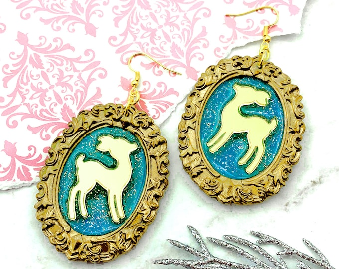 Gilded Deer Cameo Earrings - Golden Toned and Teal Resin Cameo Earrings