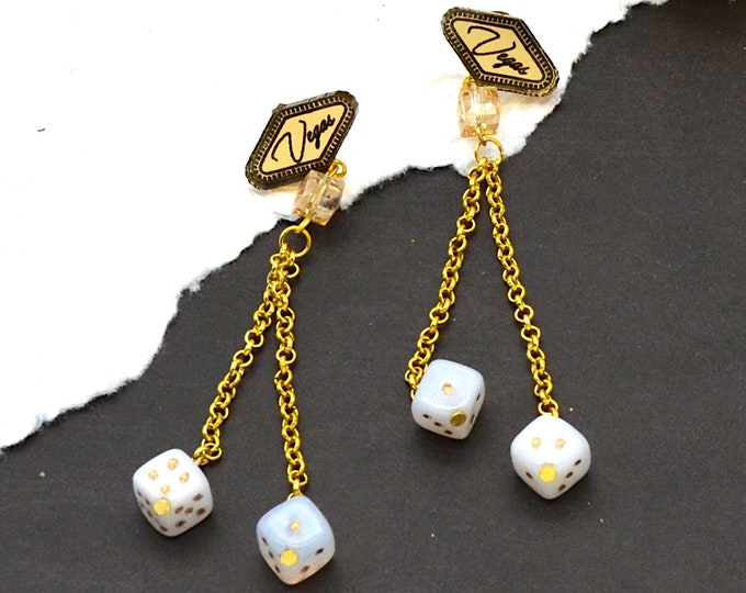 Vegas Baby Dangle Earrings  - Golden Toned Vegas Sign with Dice and Chain