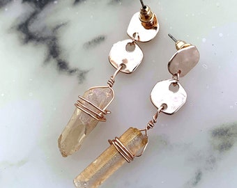 Hammered Rose Quartz Crystal Couture Earrings
