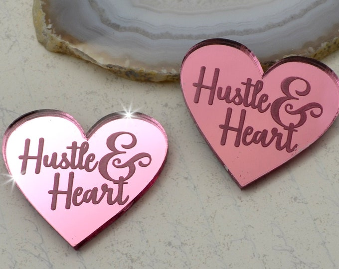 HUSTLE AND HEART - Pink Mirror Laser Cut Acrylic Cabs - Set of 2 Flatback Cabochons