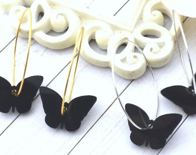 BLACK BUTTERFLY HOOPS Dangle Earrings - Choose Gold or Silver Hoops